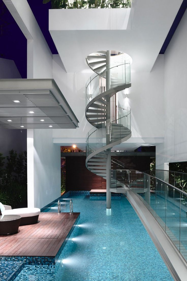 Dream House With Indoor Pool luxurious winding staircase into a pool! | luxury homes