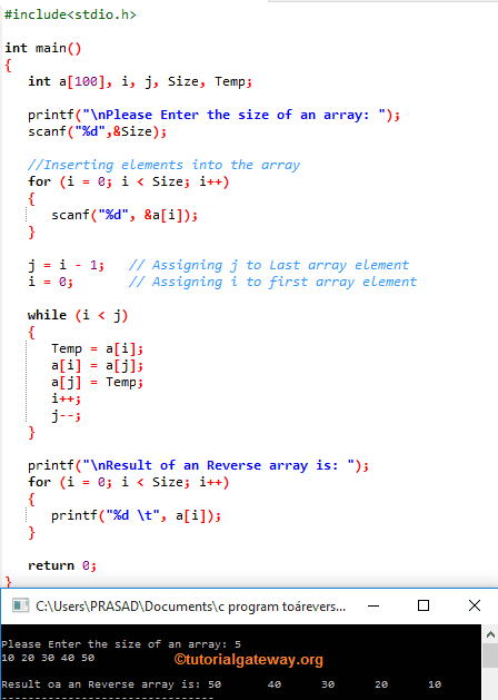 c program to reverse an array using while loop  c