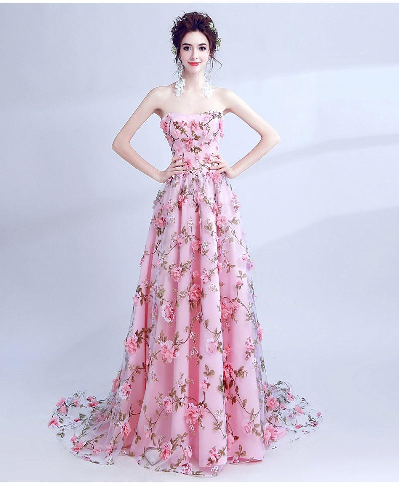 012b72cd82e Floral Millennial Pink Wedding Gown with 3-Dimensional Flower Detail ...