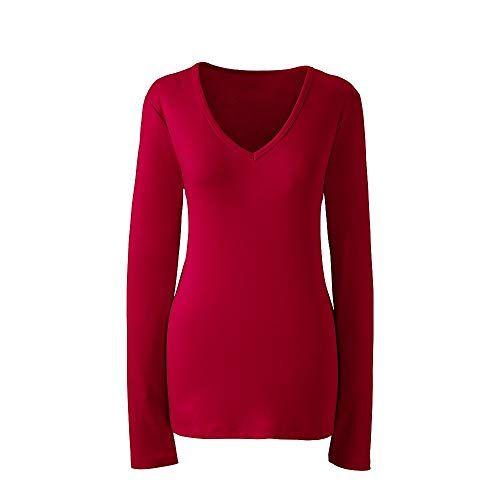 865595826a1192 New Lands' End Women's Plus Size Shaped Long Sleeve T-Shirt Cotton V-Neck.  Women fashion Tops [$25.5]topbrandsclothing