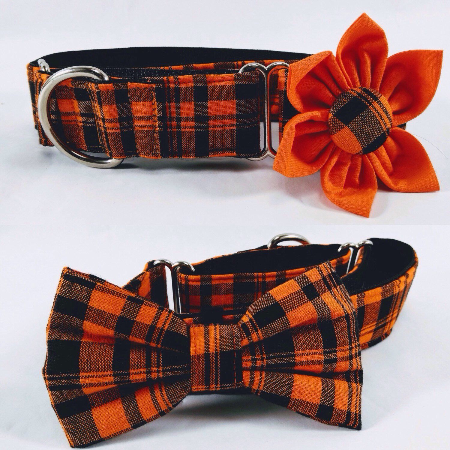 Halloween martingale dog collar flower and bow tie set