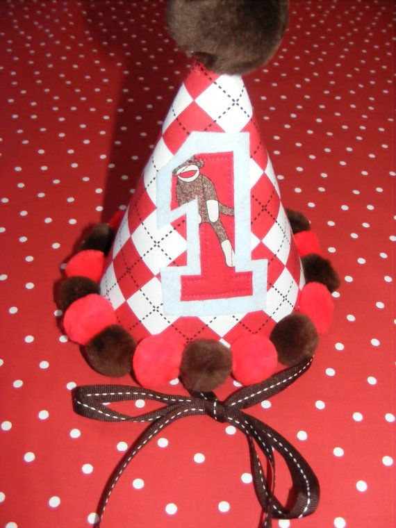 Sock Monkey Birthday Hat in argyle by daisydeco on Etsy