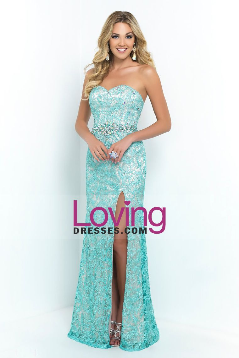 2015 Lace Sweetheart Column Prom Dresses Beaded Waistline With Slit ...