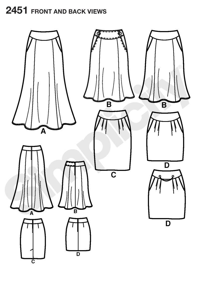 Womens skirt sewing patterns Sewing Pattern 2451 Simplicity ...