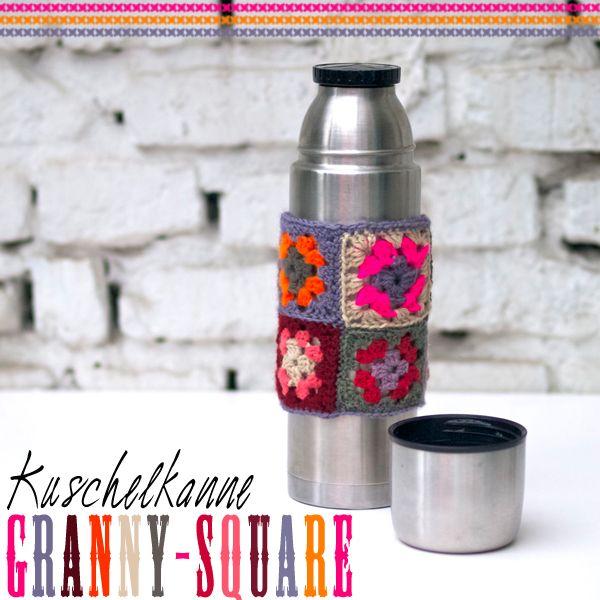 Granny Square bottle cozy - great idea!