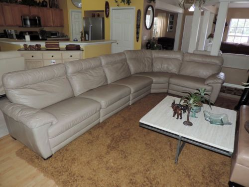 Here is a Rare and Beautiful Five Pc Taupe Leather Triple Power Reclining Sectional Sofa by Natuzzi Furniture. This is the Sectional You Will Melt Away In ... : natuzzi reclining sectional - Sectionals, Sofas & Couches