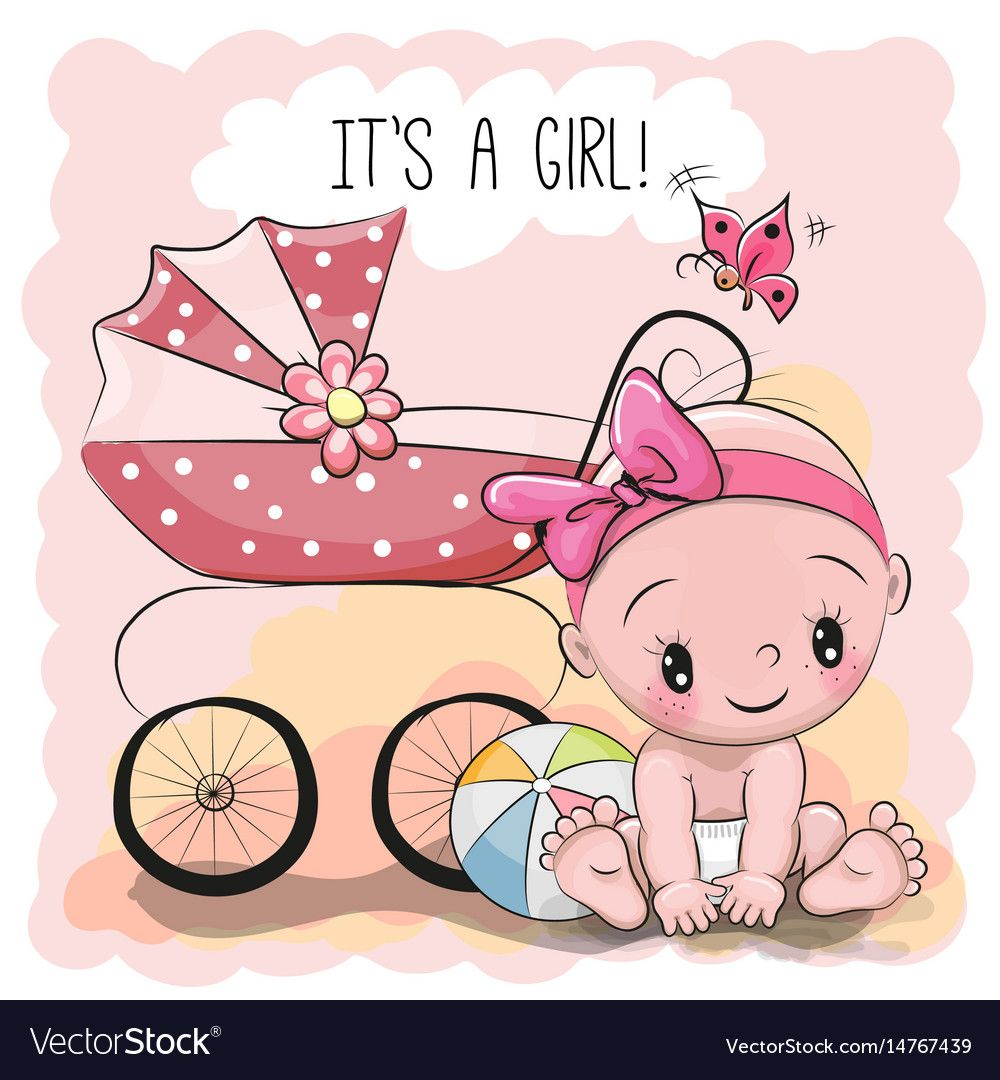 Greeting card it is a girl with baby vector image on