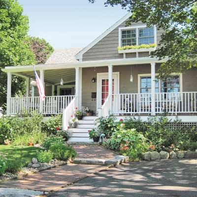 Curb appeal makeovers front doors porch and decking for Cape cod siding ideas