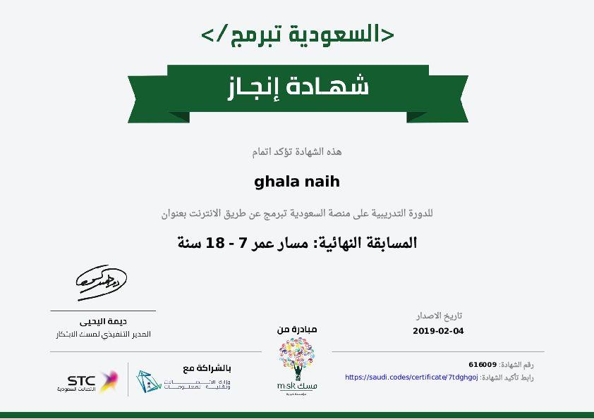 شهادة حضور دورة المسابقة النهائية مسار عمر 7 18 سنة السعودية تبرمج Education Coding Pie Chart