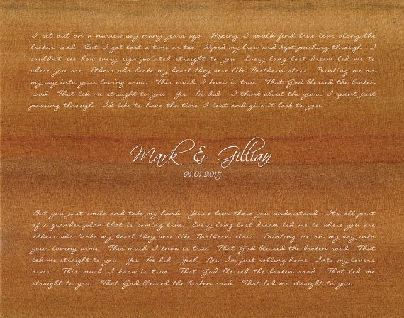 Bless The Broken Road By Rascal Flatts Wedding Song Lyrics Gift From Groom To Bride First Dance