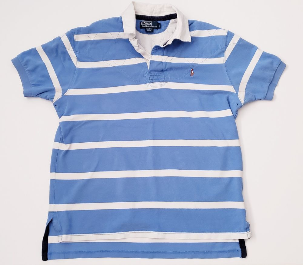 Vtg Ralph Exclusive Men's Lauren Polo Of Rare Rugby Stripe 2DHIE9W