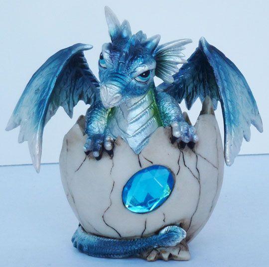 Aquamarine March Birthstone Dragon In Shell 4 Figure Statue March Birth Stone Dragon Art Dragon