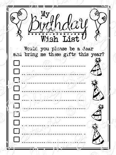 birthday wish list Pin by Gabriela Bressler on christmas | Birthday wishes, Birthday  birthday wish list