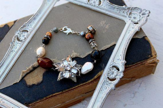 Vintage Rhinestone Gemstone and Pearl Assemblage Bracelet~