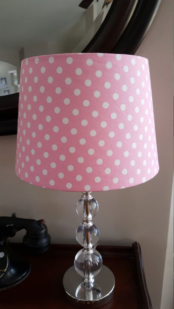 Pink polka dot lamp shade nursery and babies aloadofball Choice Image