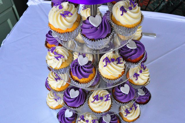 Purple and silver wedding cupcakes by Cupcake Passion (Kate Jewell), via Flickr