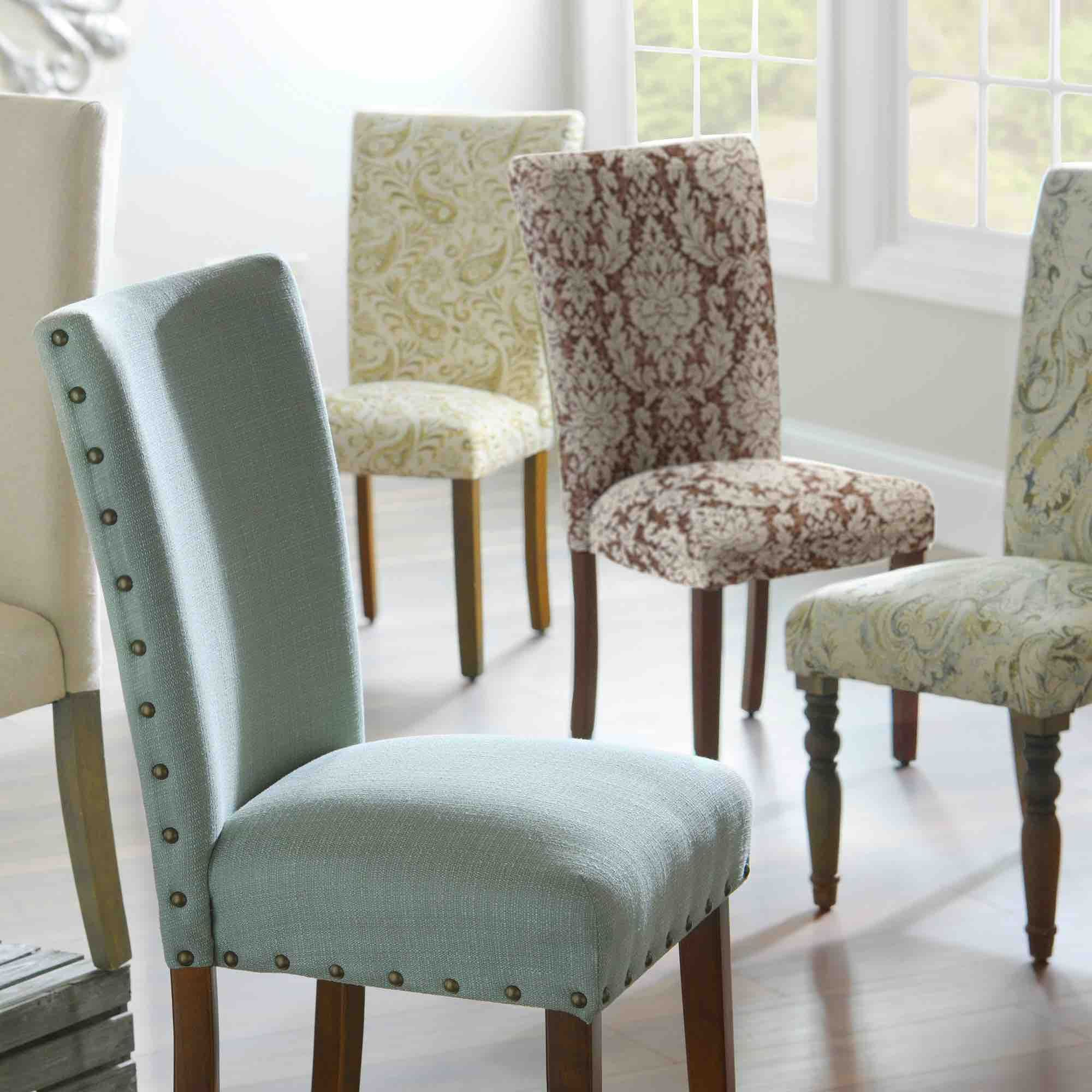 Dinning Chairs Fabric Dining Room Rooms Set Chair White And Antique Brass