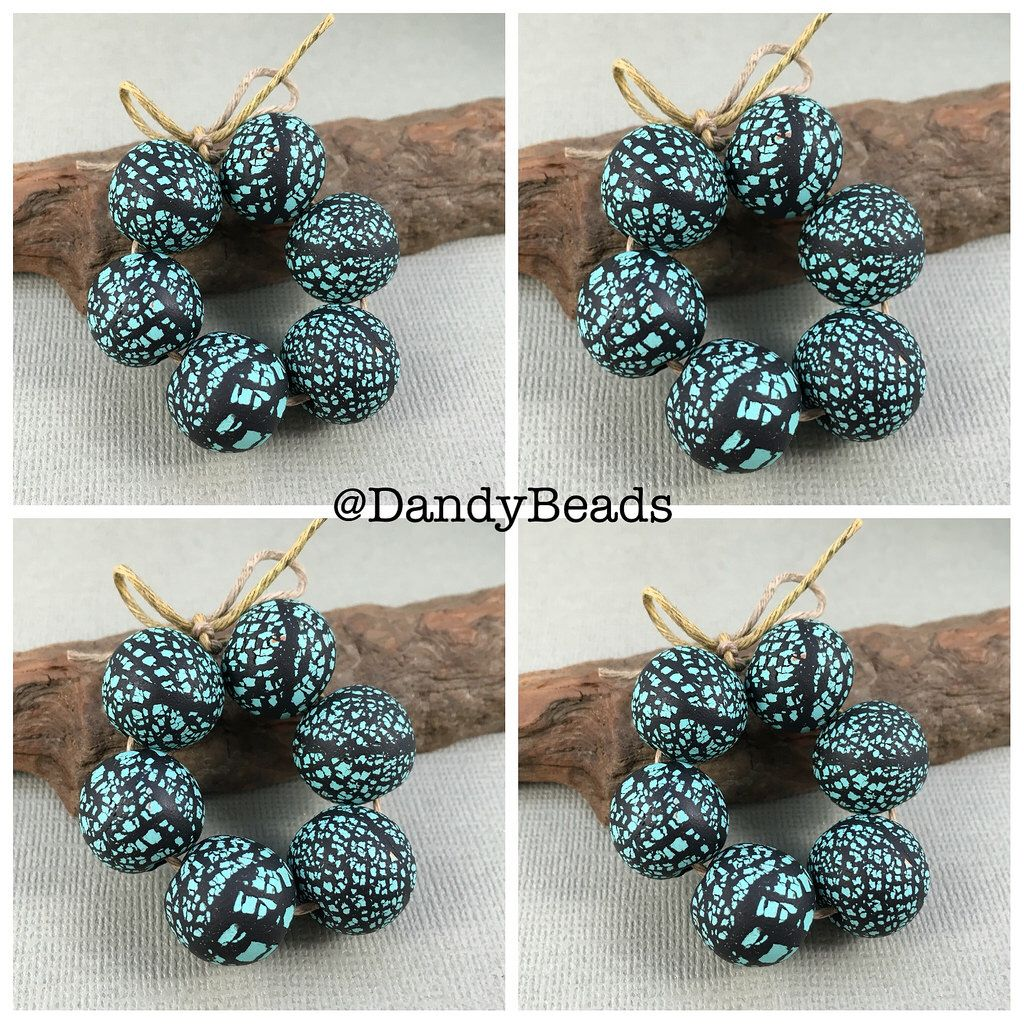 Rustic Turquoise Color 14mm Round Polymer Clay Beads Sandra DeYoung Niese