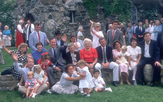 The Bush Family Waves To The Camera As The Political Pack