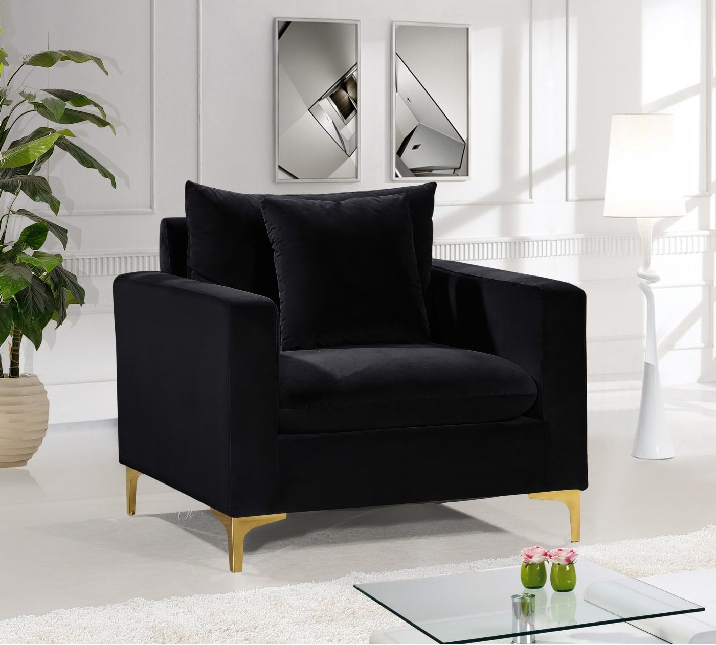 Meridian Naomi Black Velvet Chair 633black C Goedekers Com Black Velvet Chair Velvet Chair Black Living Room