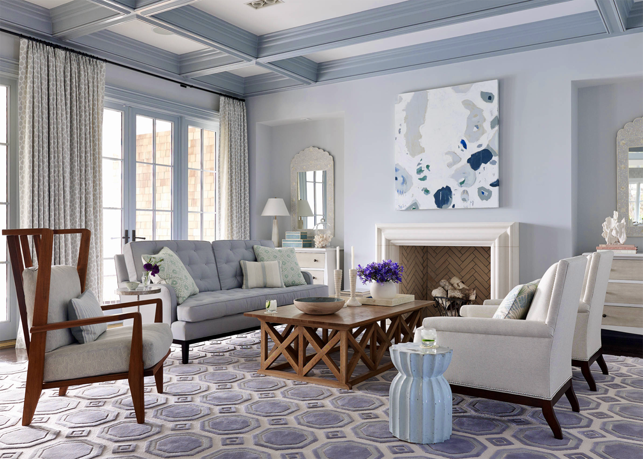 Cozy and charming light blue living room decor with light ...
