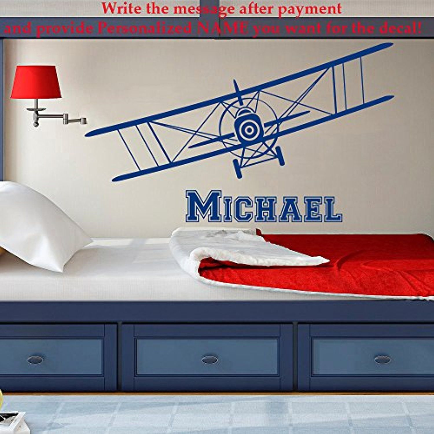 Plane Name Wall Decal Vinyl Sticker Decals Personalized