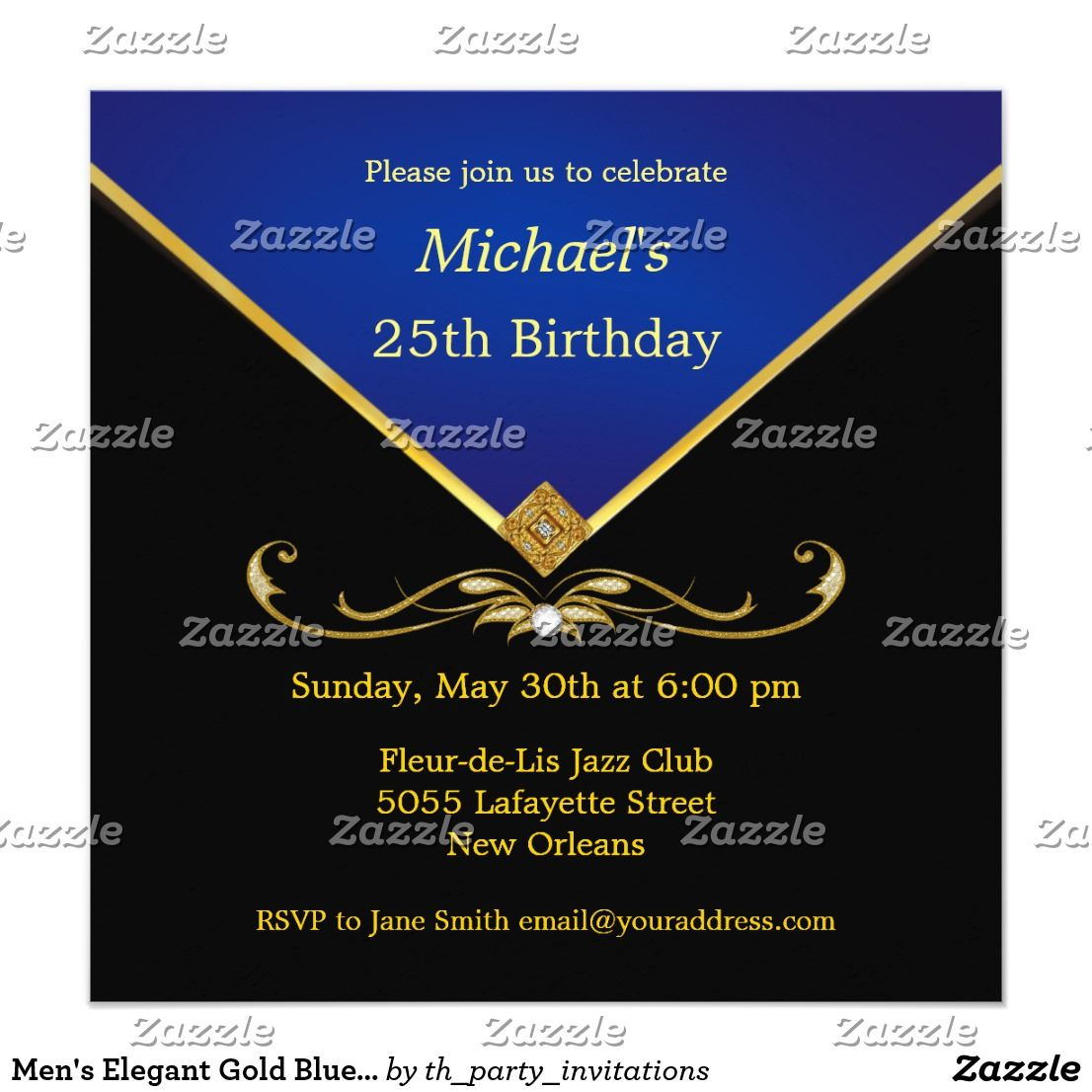 Mens elegant gold blue birthday party invitations blue birthday mens elegant gold blue birthday party invitations stopboris Choice Image