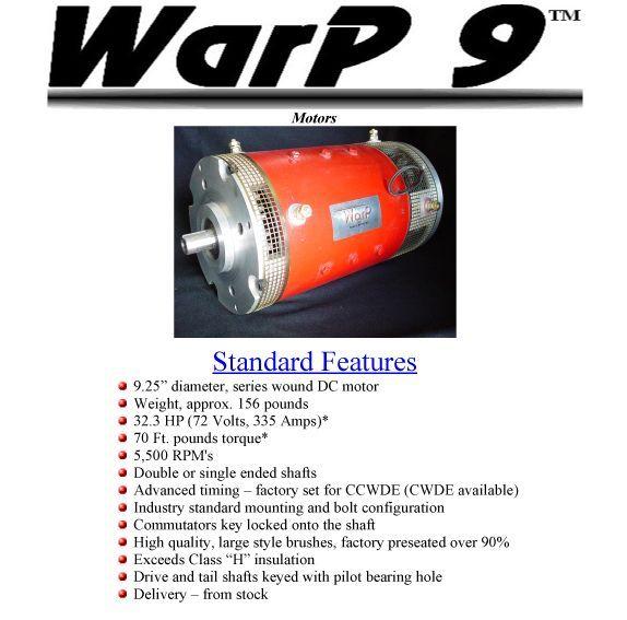 Warp 9 Ev Motor Electric Car Engine 32 3 Hp 72 Volts Dc Single Electric Car Engine Car Engine Electric Car