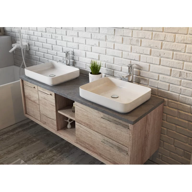 Luz 1500mm Wall Hung Double Vanity Unit In 2020 Double Vanity Unit Vanity Units Double Vanity