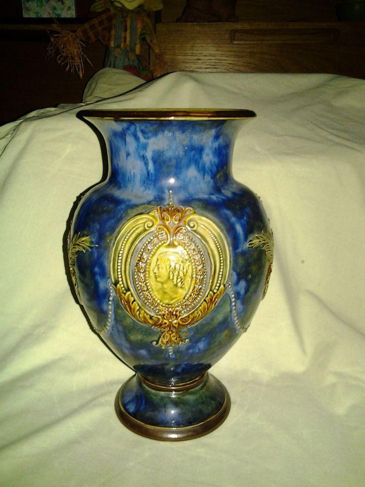 Royal Doulton Lambeth Vase Blue Glazed Stoneware Mark Hd And 7114