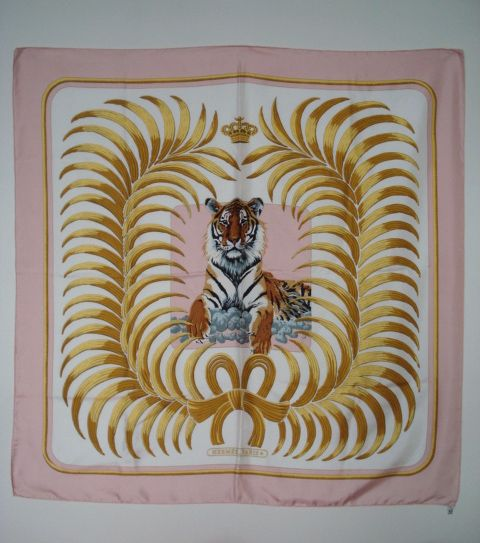 SOLD - Hermes Tigre Royale in Pink and Gold RARE size XL. The Tiger is so beautiful!