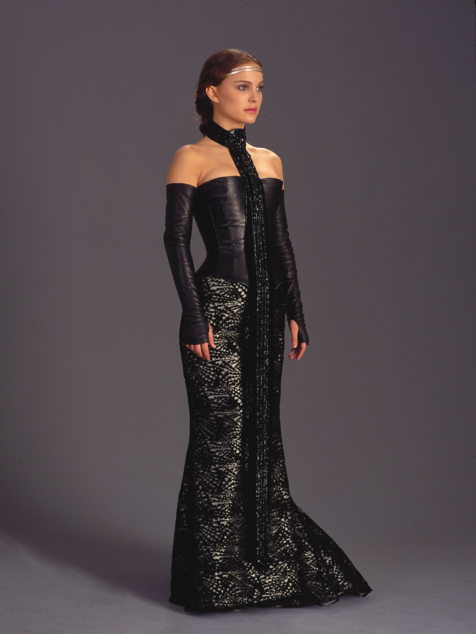 4ae979dc2e44c Natalie Portman's leather corset costume designed by George Lucas in Star  Wars Episode II.