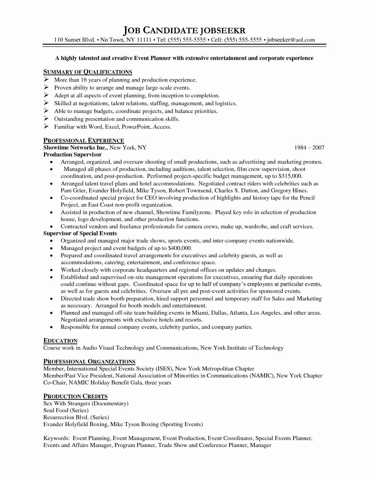 Resume Examples Event Coordinator Resume Templates