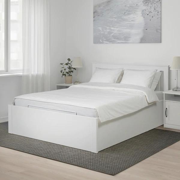 Songesand Cadre Lit Coffre Blanc 160x200 Cm Ikea En 2020 Lit Coffre Blanc Lit Coffre Cadre De Lit