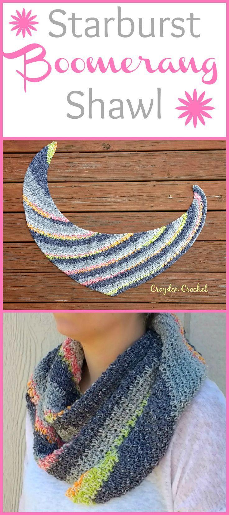 Crochet Starburst Boomerang Shawl | Chal, Tejido y Bufanda cuello