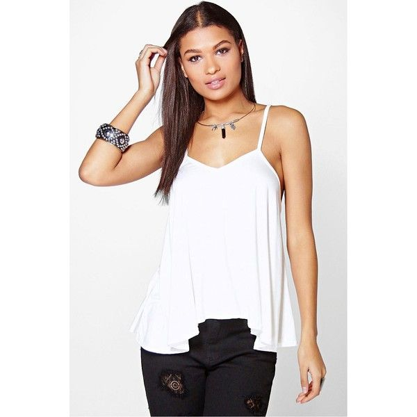 1d457bf1b Boohoo Basics Evie Cross Neck Strap Swing Cami ( 14) ❤ liked on Polyvore  featuring