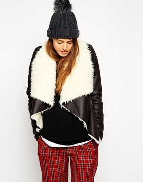 ASOS Jacket with Waterfall Front in Faux Shearling