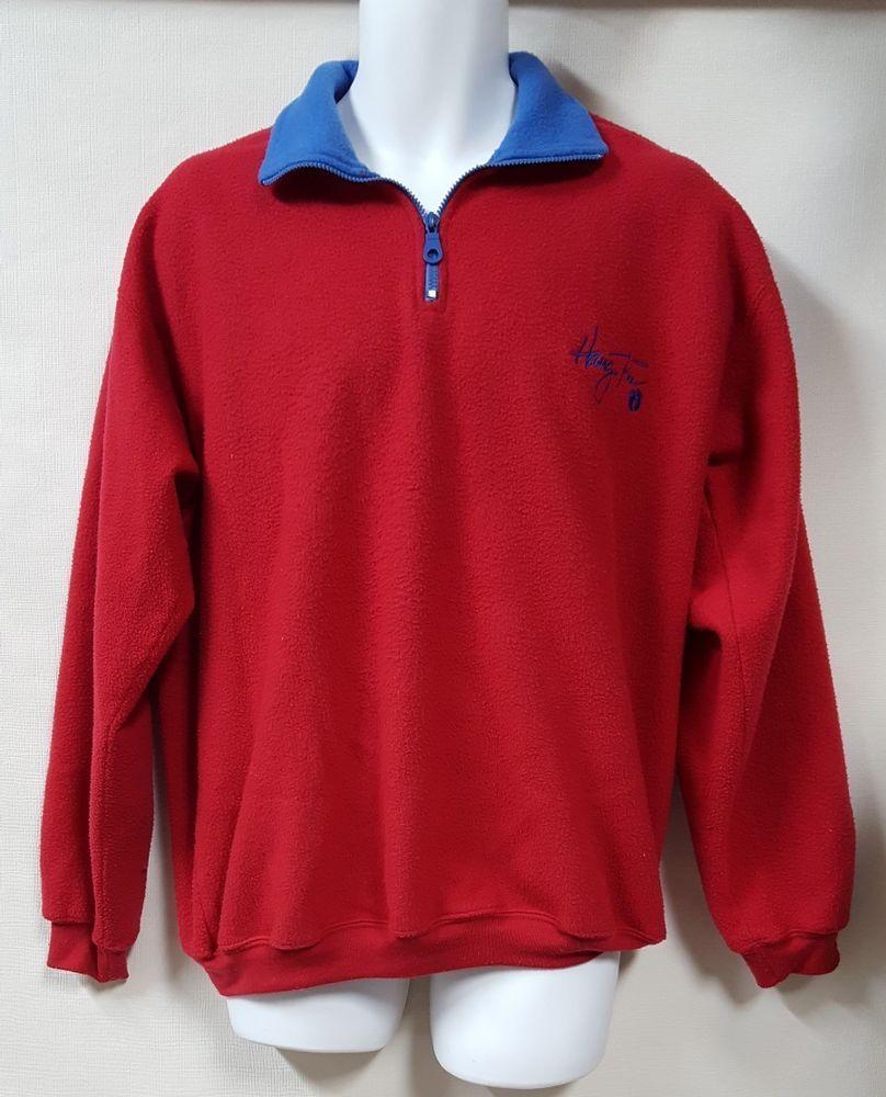 Hang ten size xl red fleece jacket zip feet logo hangten