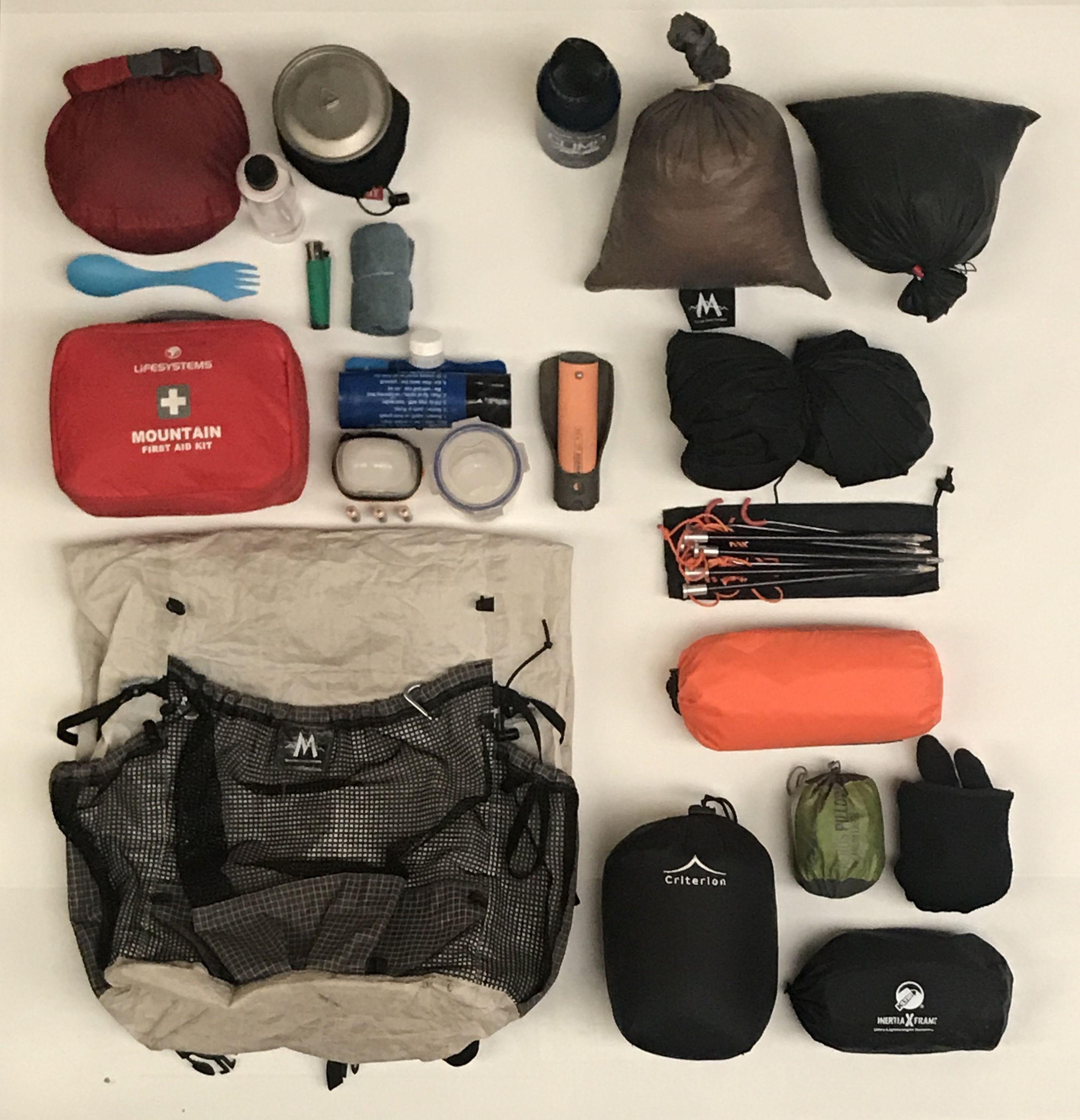 2018 Summer Expedition Kit List, 5.07kg (plus 600g of food ...