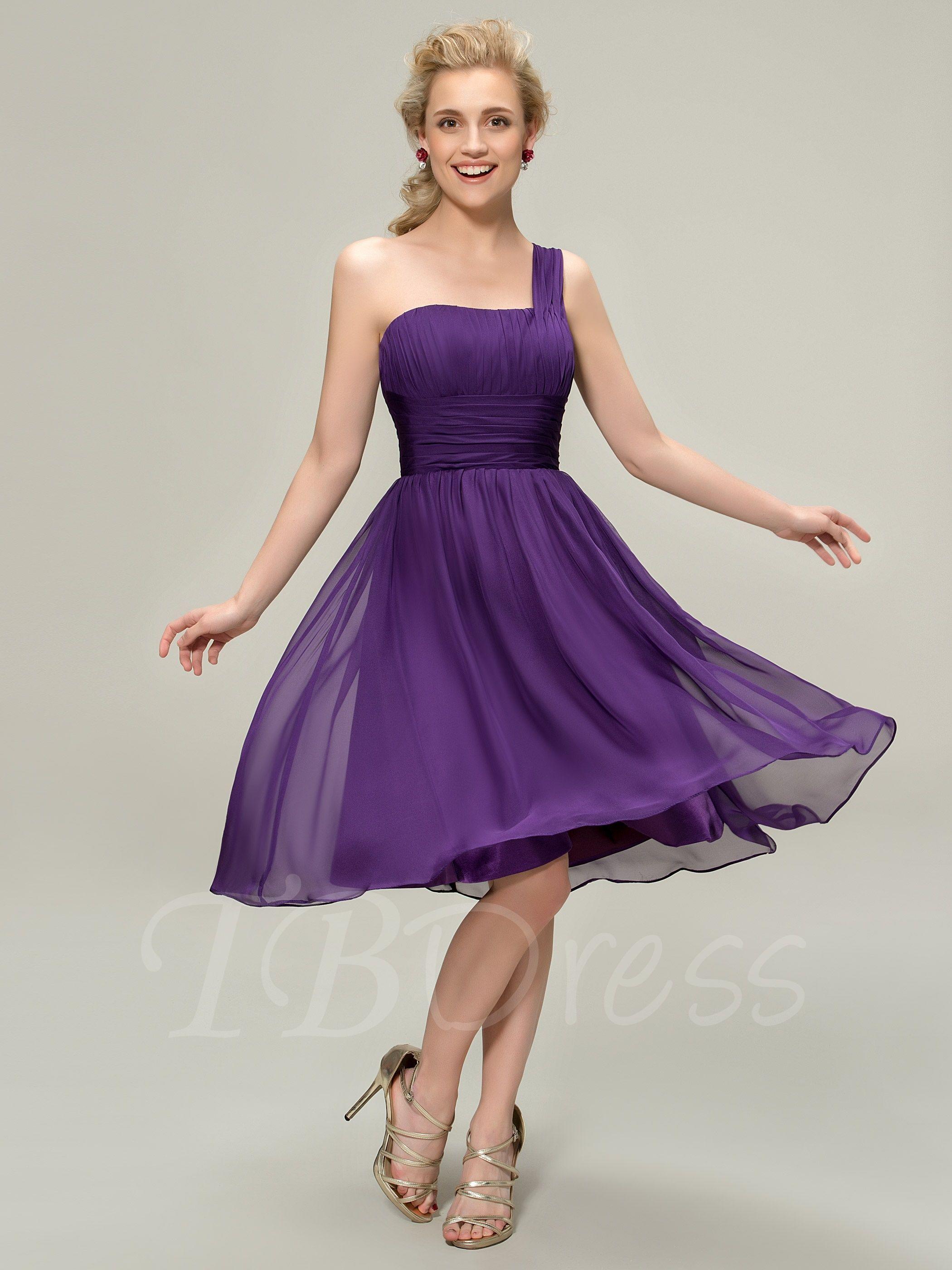 Short Empire Waist A-Line One Shoulder Bridesmaid Dress | Empire and ...