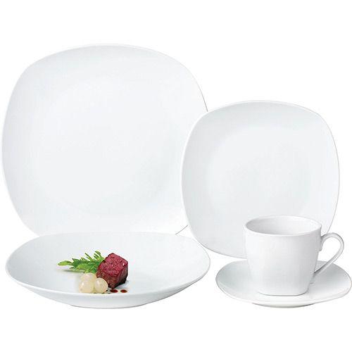 Aparelho De Jantar 30 Pecas Porcelana Super Quadrado Branco