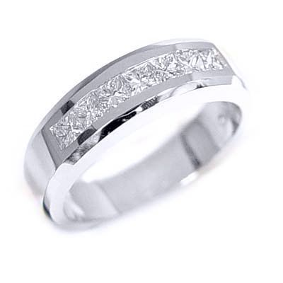 125 ct mens diamond channel set wedding ring 14k white gold