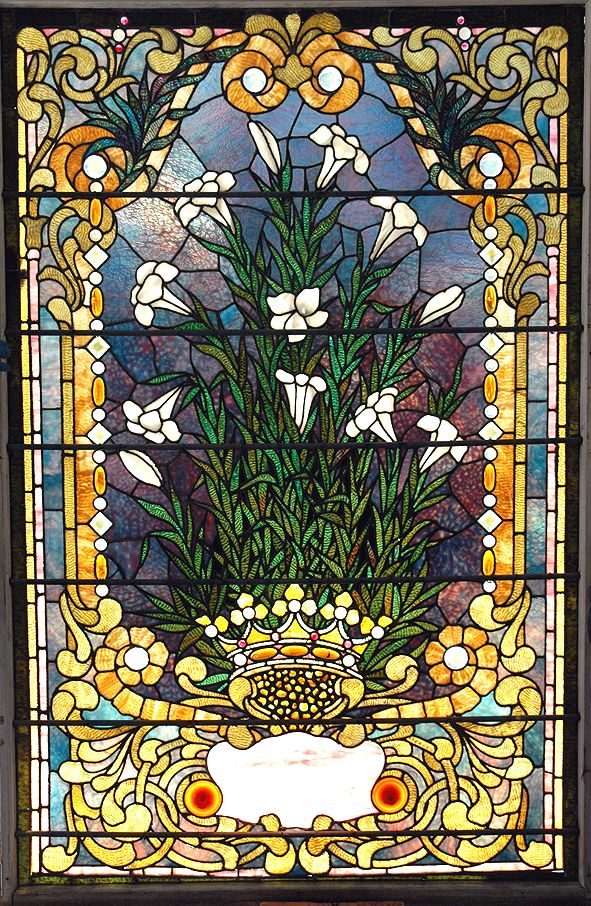 Tiffany Studios Floral Nouveau Leaded Stained Glass Estate Landing Window 6'X4' | eBay