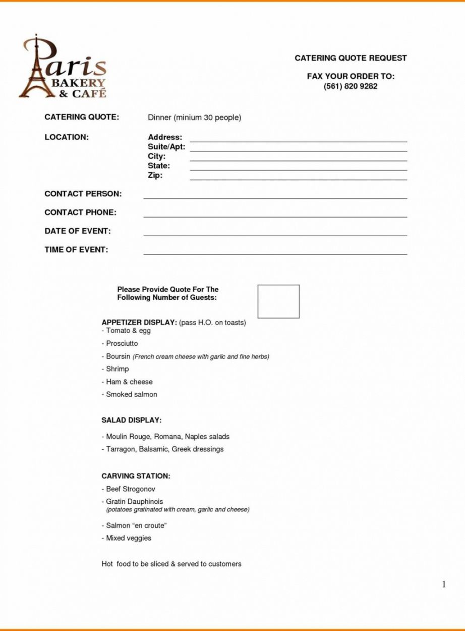 Catering Quotation Letter Format Proposal Free Quote Template Top