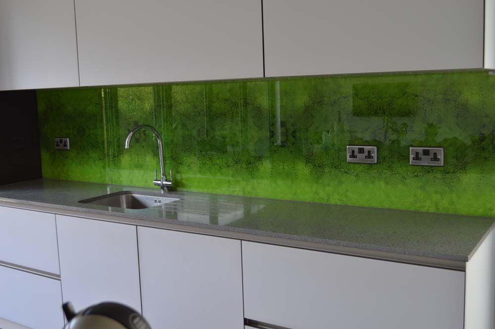 Kitchen Backsplash Uk green-moss printed glass kitchen splashbackcreoglass design