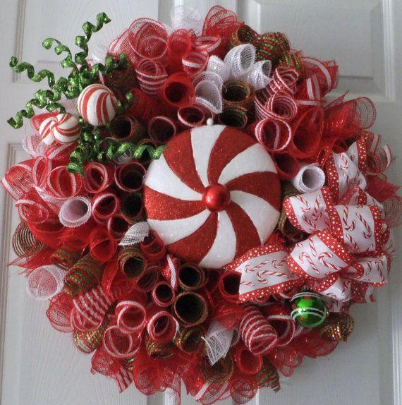 Home Decor Wreaths: Christmas Wreath, Wreath, Candy Wreath. Deco Mesh Wreath