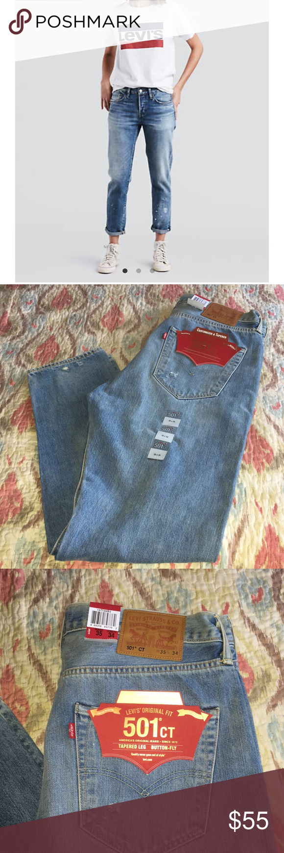 8dd507e2 LEVI'S ORIGINAL FIT 501ct CUSTOMIZED & TAPERED BUTTON FLY DISTRESSED JEANS  W 35 L 34 NWT IN EXCELLENT CONDITION GREAT BUY Levi's Pants