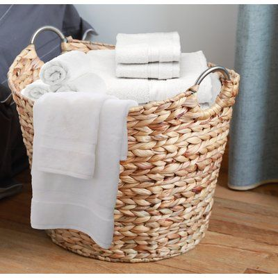 Three Posts Wicker Large Round Water Hyacinth Laundry Basket Wayfair In 2020 Bathroom Baskets Bathroom Basket Storage Wicker Laundry Hamper