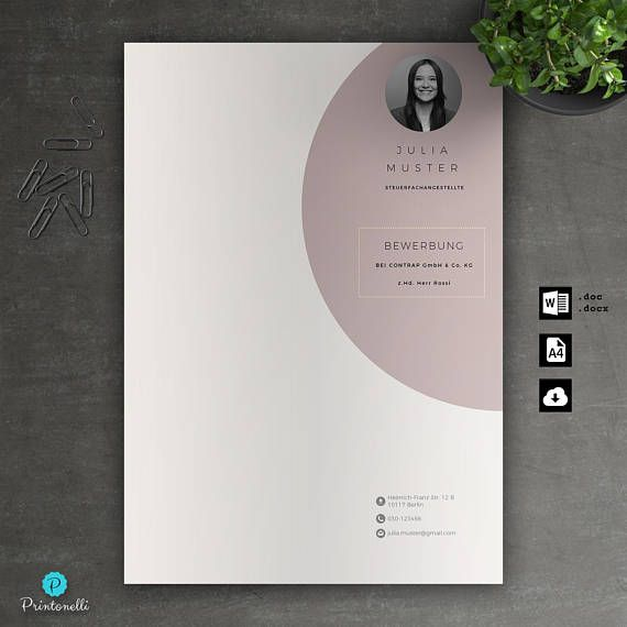 Application Template Cover page, CV, letter for Word Instant