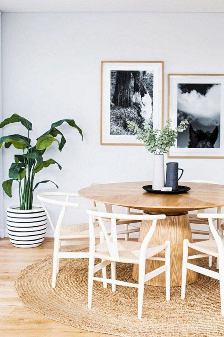 70 Easy And Minimalist Dining Table Decor Ideas Page 15 Of 71 Round Dining Room Organic Dining Room Scandinavian Dining Room